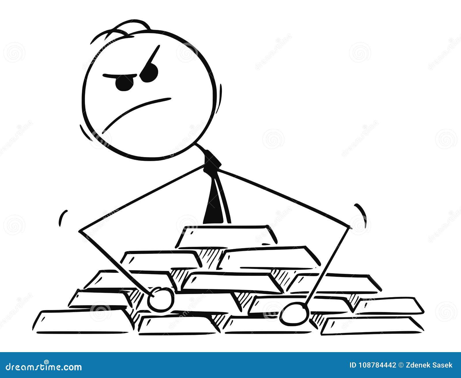 Conceptual Cartoon of Paranoid Businessman Protecting His Gold Treasure