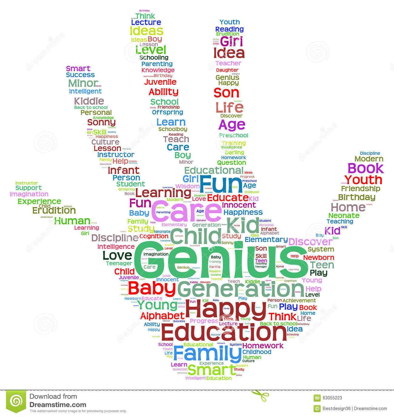 Conceptual Child Education Hand Print Word Cloud Isolated ...