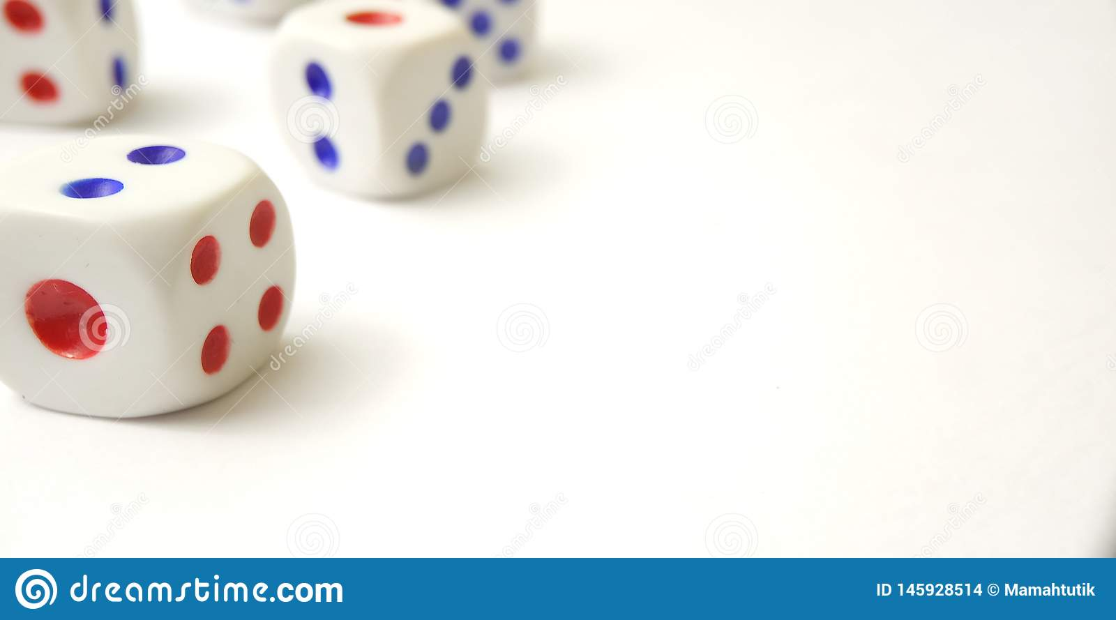 Conceptual Close up, Plastic Dice with white negative space for text placement area