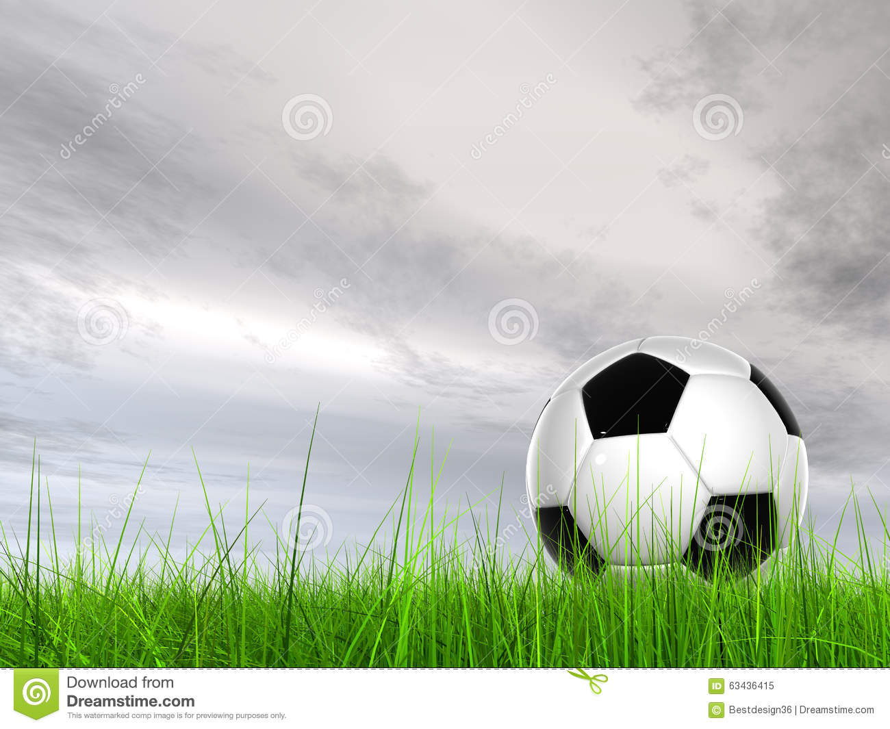 Soccer Football On Green Field With Blue Sky Background: Conceptual 3D Soccer Ball In Field Grass With A Sky