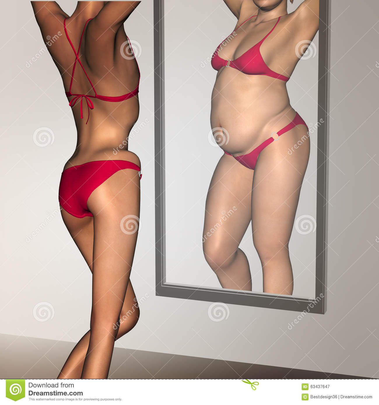 Conceptual 3D Woman As Fat Vs Fit Underweight Anorexic ...  Obese Vs Anorexic