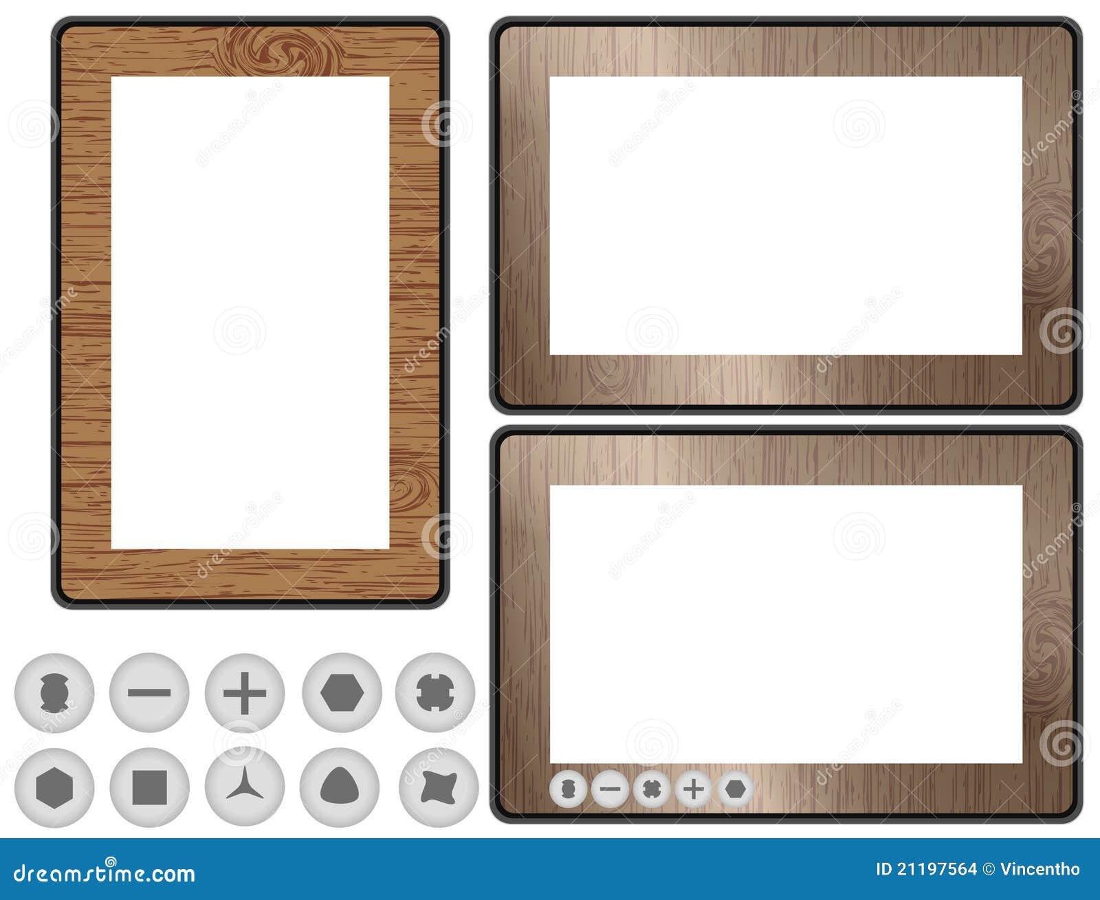 Conceptual Design Wooden Tablet PC Illustration