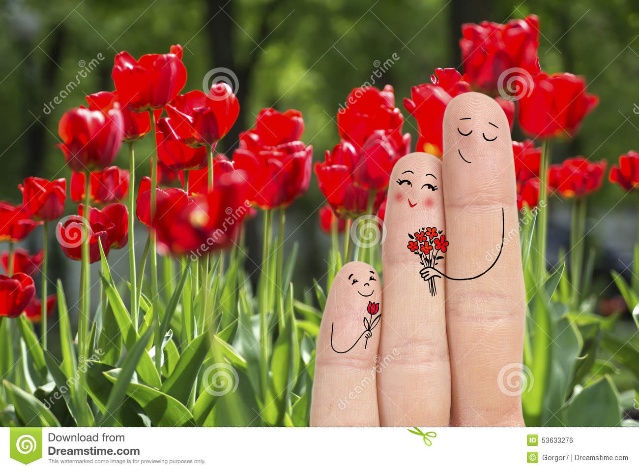 Conceptual Family Finger Art Father And Son Are Giving Flowers His