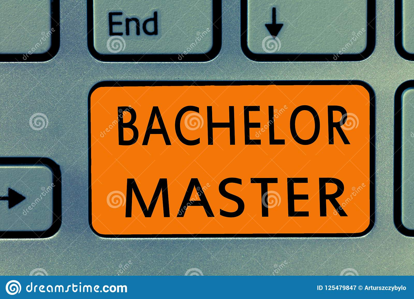 conceptual hand writing showing bachelor master business