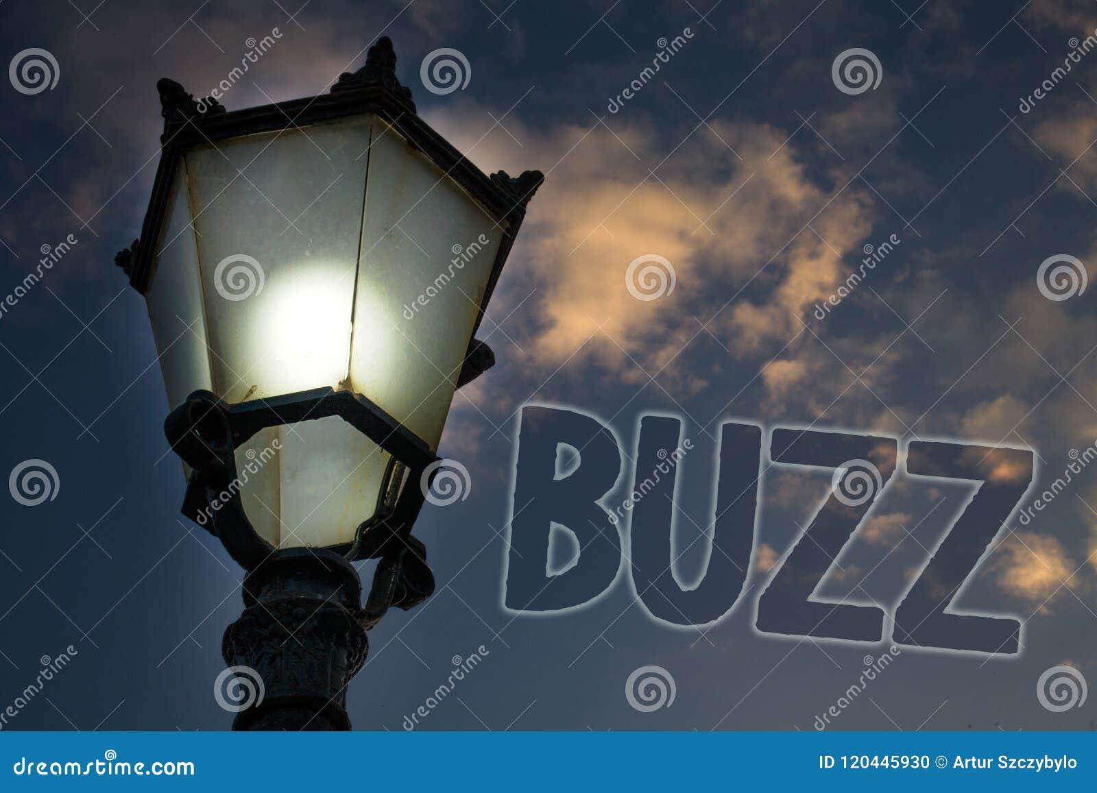 Conceptual hand writing showing Buzz. Business photo showcasing Hum Murmur Drone Fizz Ring Sibilation Whir Alarm Beep Chime Light