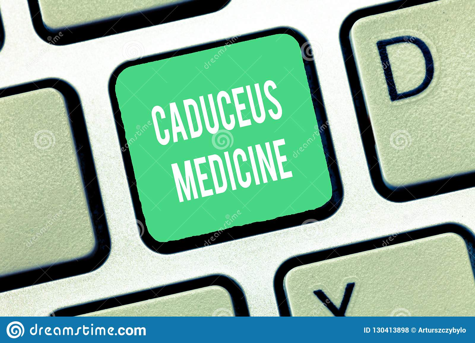 Conceptual hand writing showing Caduceus Medicine. Business photo text symbol used in medicine instead of the Rod of