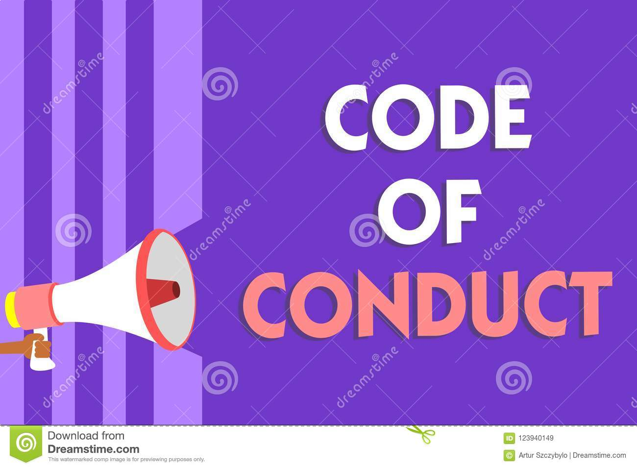 Conceptual hand writing showing Code Of Conduct. Business photo text Ethics rules moral codes ethical principles values respect Me