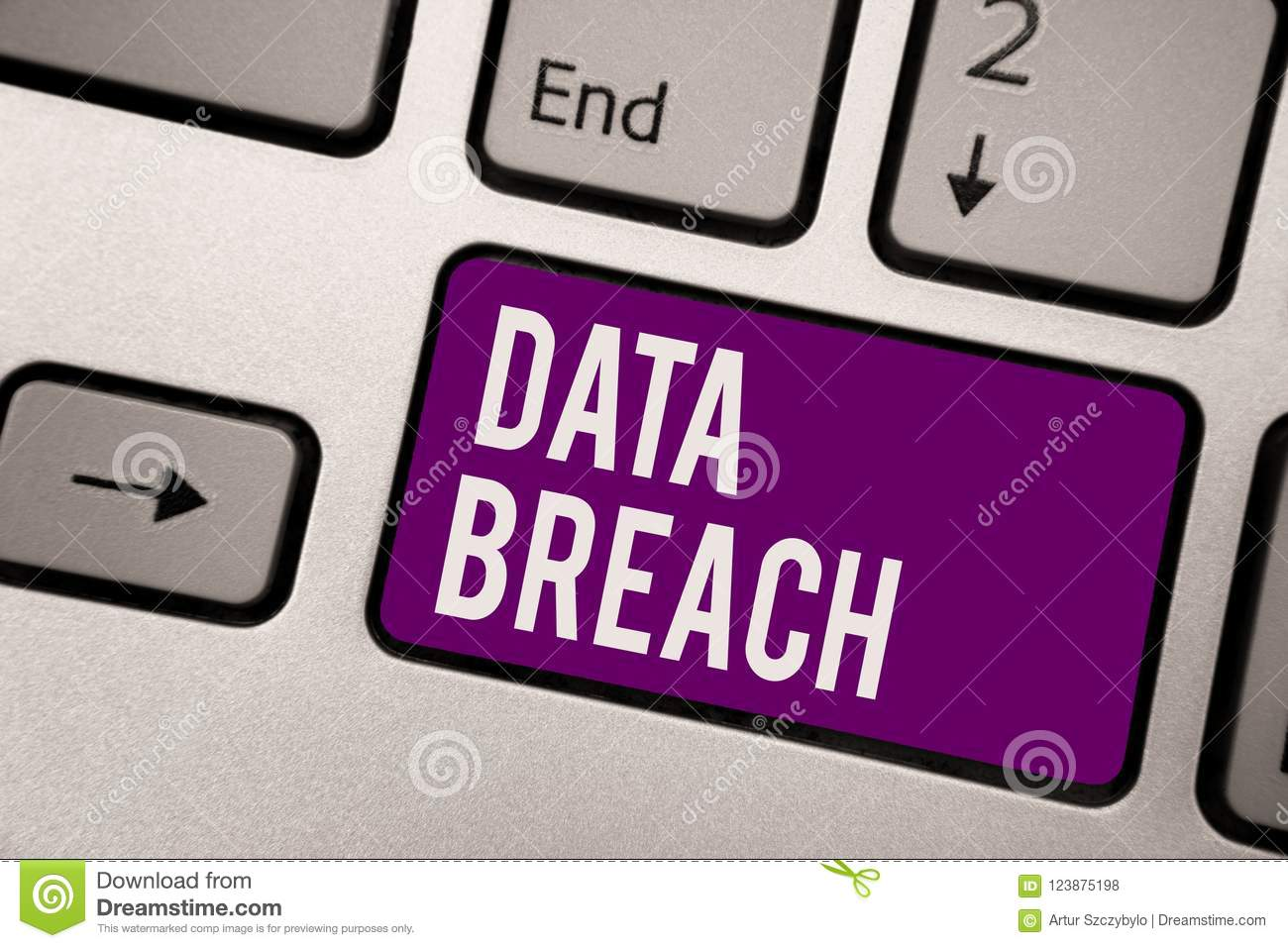 Conceptual hand writing showing Data Breach. Business photo showcasing security incident where sensitive protected information cop