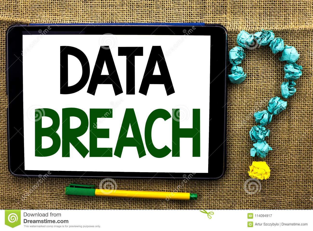 Conceptual hand writing showing Data Breach. Business photo text Stolen Cybercrime Information Hacking Security Malicious Crack wr