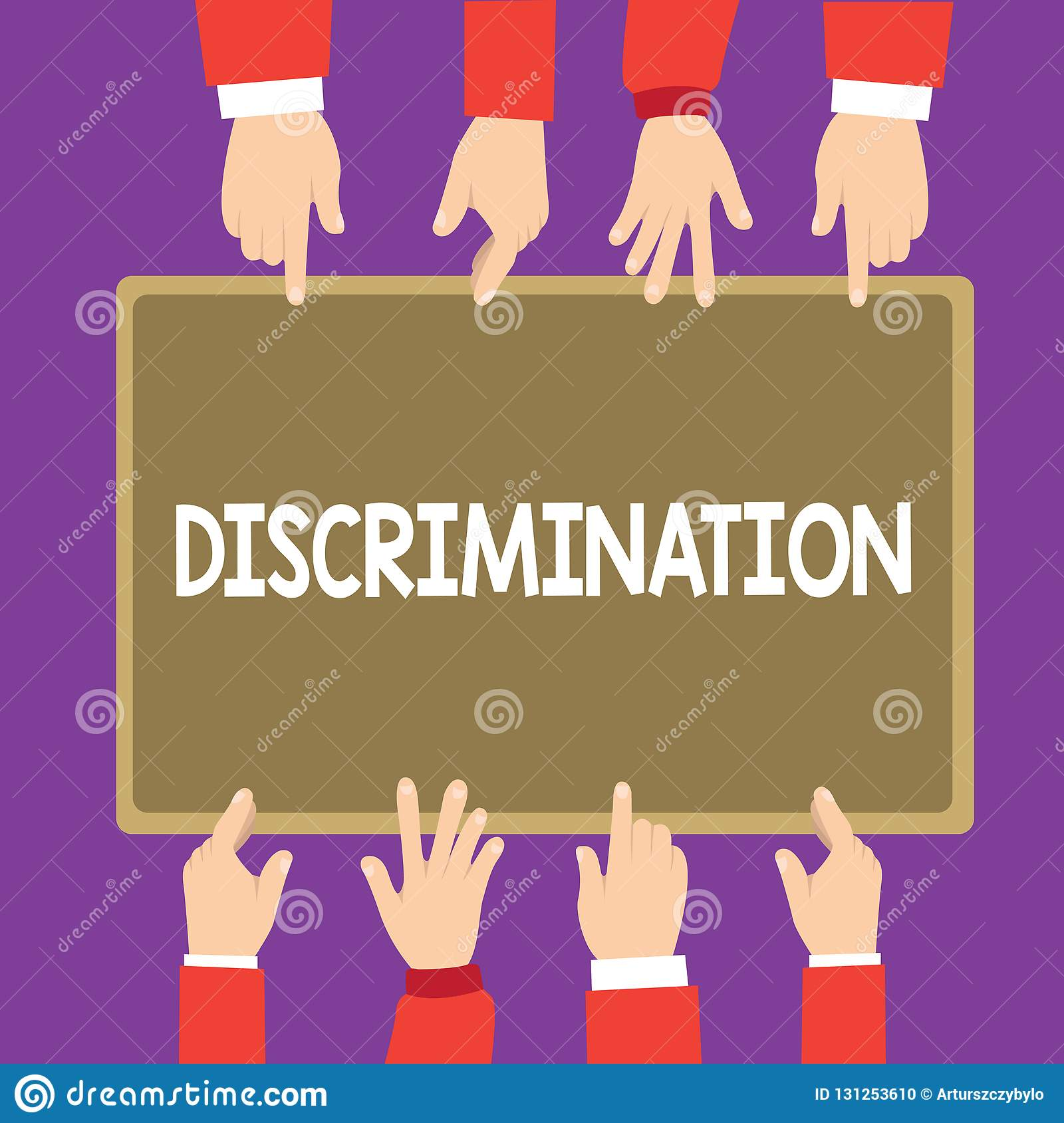 Conceptual hand writing showing Discrimination. Business photo text Prejudicial treatment of different categories of