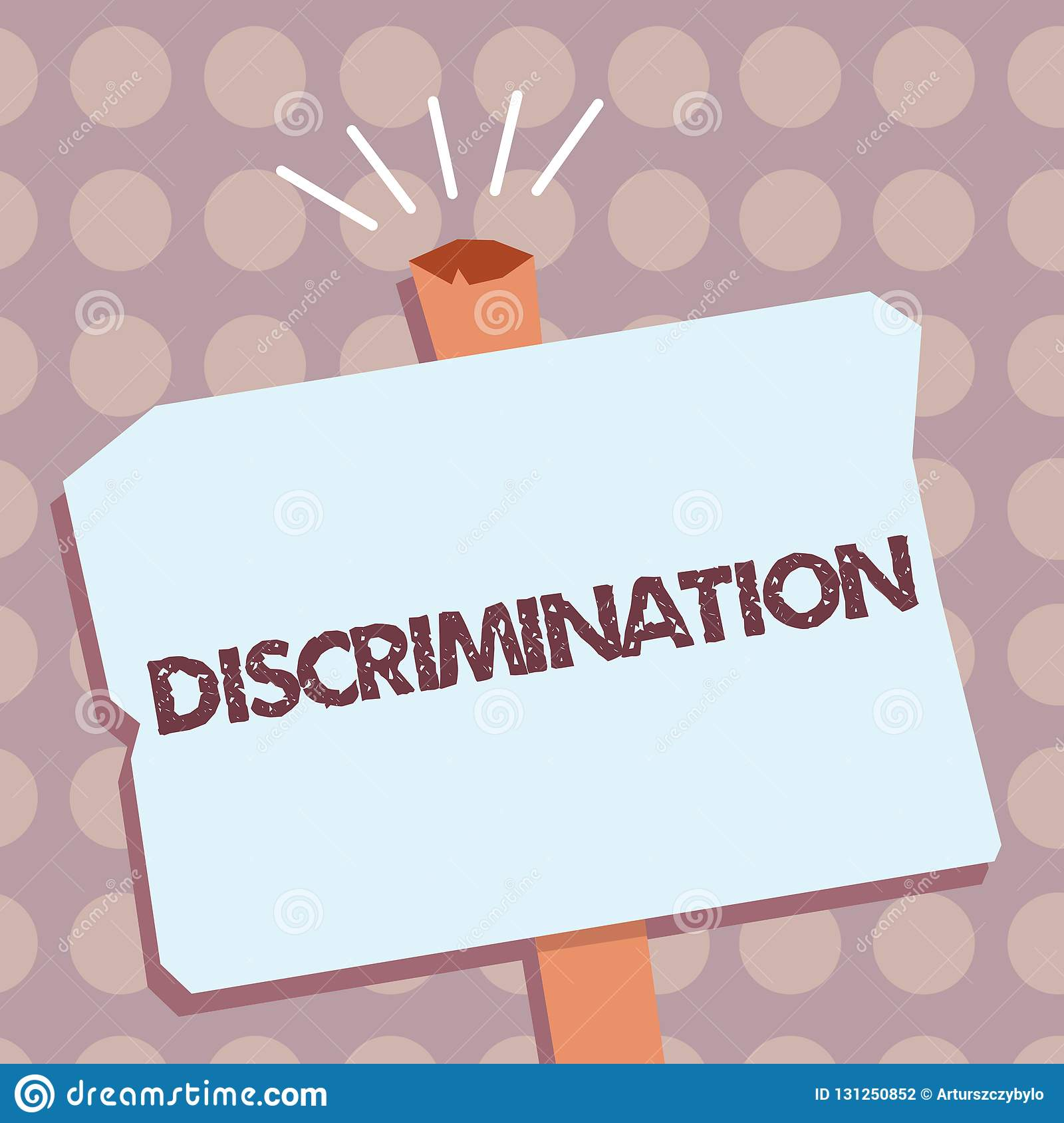 Conceptual hand writing showing Discrimination. Business photo text Prejudicial treatment of different categories of showing