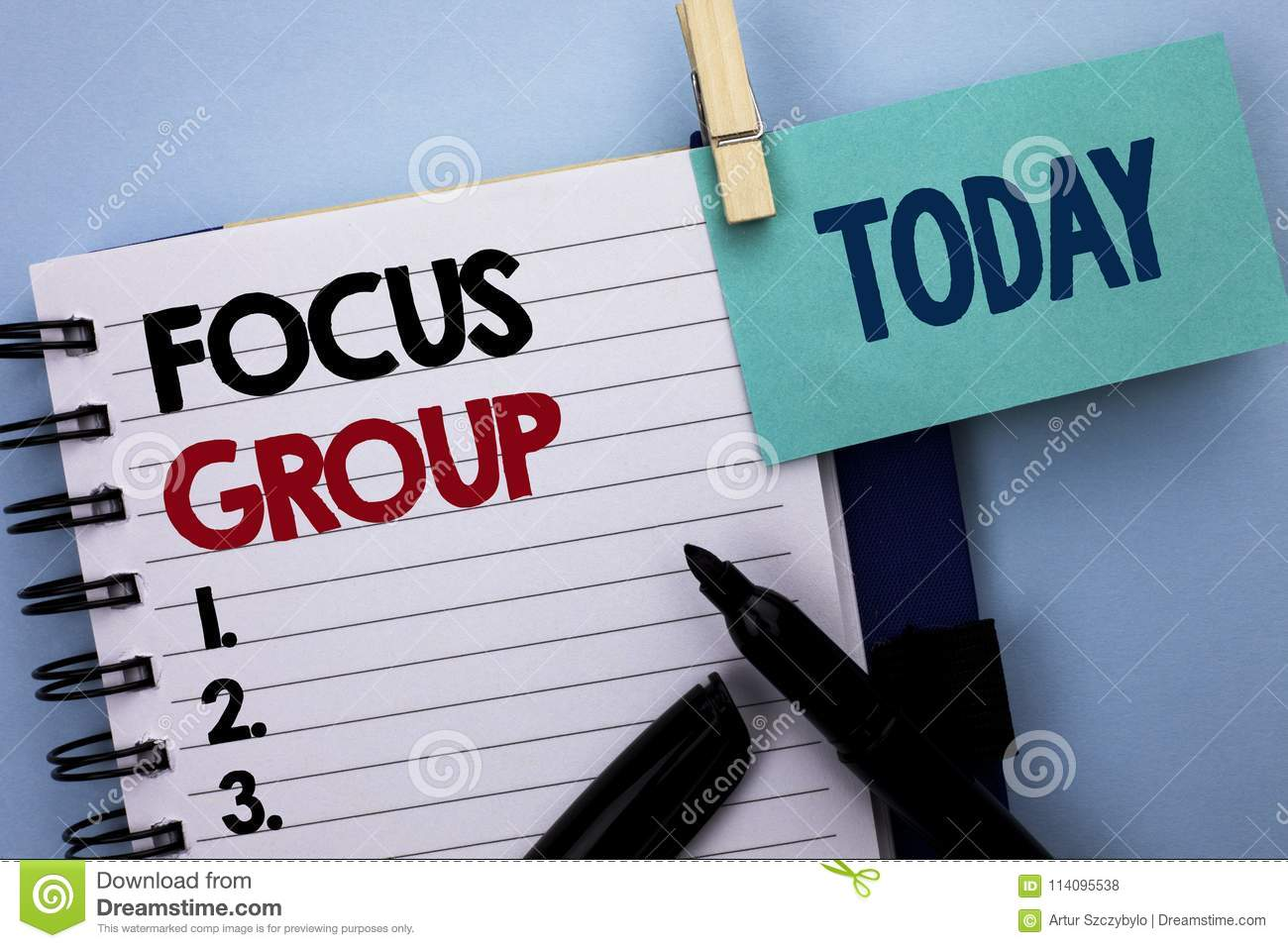 Conceptual hand writing showing Focus Group. Business photo text Interactive Concentrating Planning Conference Survey Focused writ