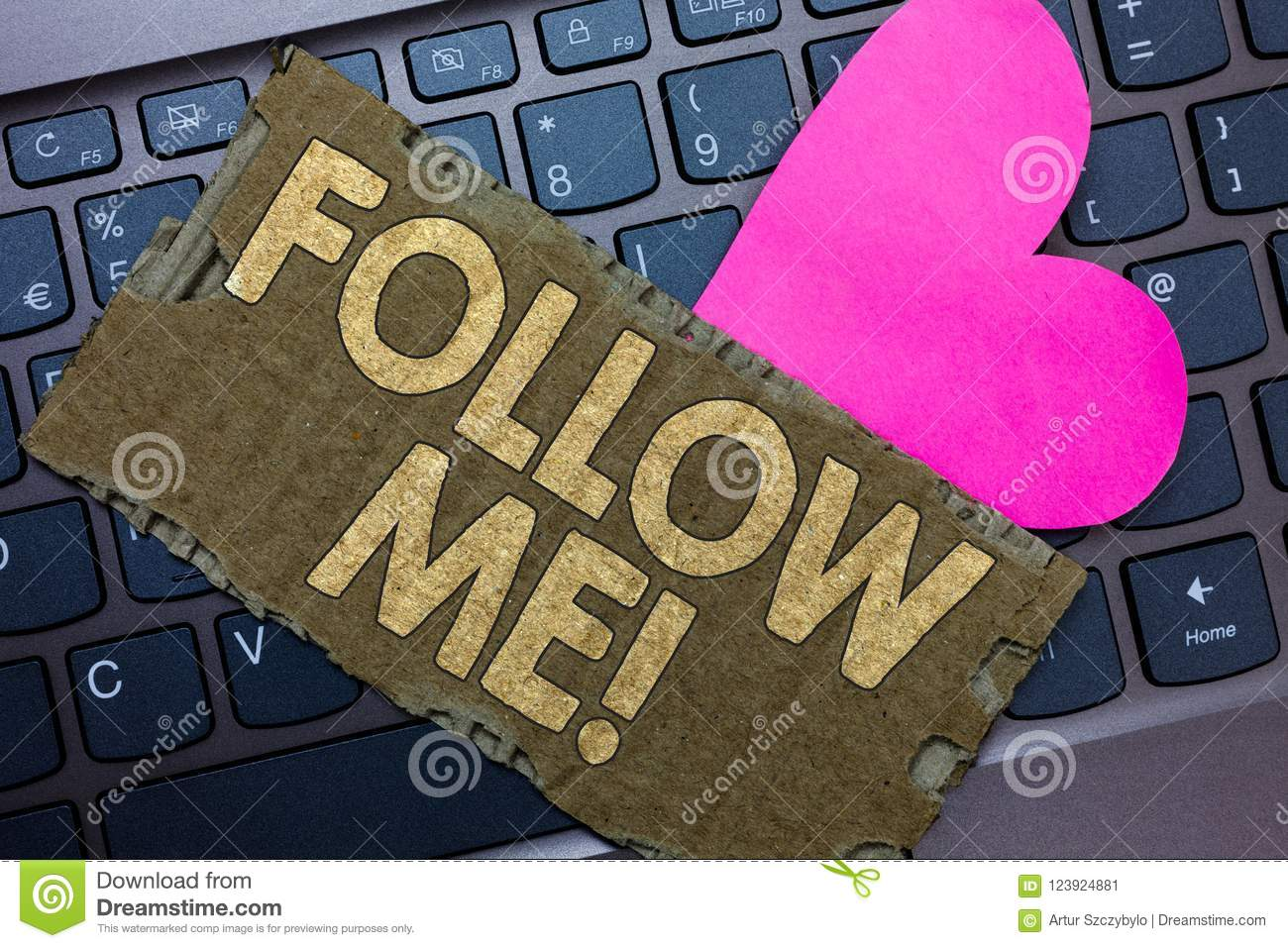 Conceptual hand writing showing Follow Me. Business photo text Inviting a person or group to obey your prefered leadership Paperbo