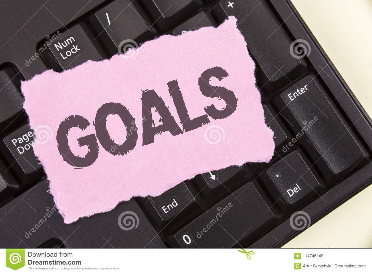 Conceptual hand writing showing Goals. Business photo showcasing Desired Achievements Targets What you want to accomplish in the f