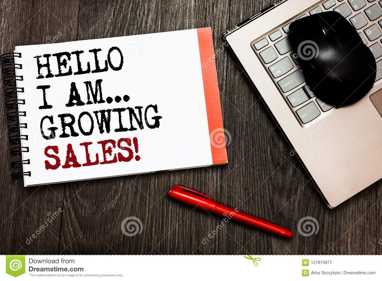 Conceptual hand writing showing Hello I Am... Growing Sales. Business photo showcasing Making more money Selling larger quantities