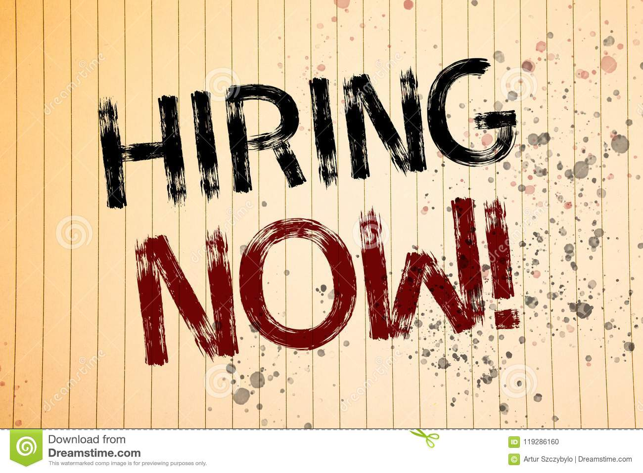 Conceptual hand writing showing Hiring Now Motivational Call. Business photos showcasing Workforce Wanted Employees RecruitmentNot