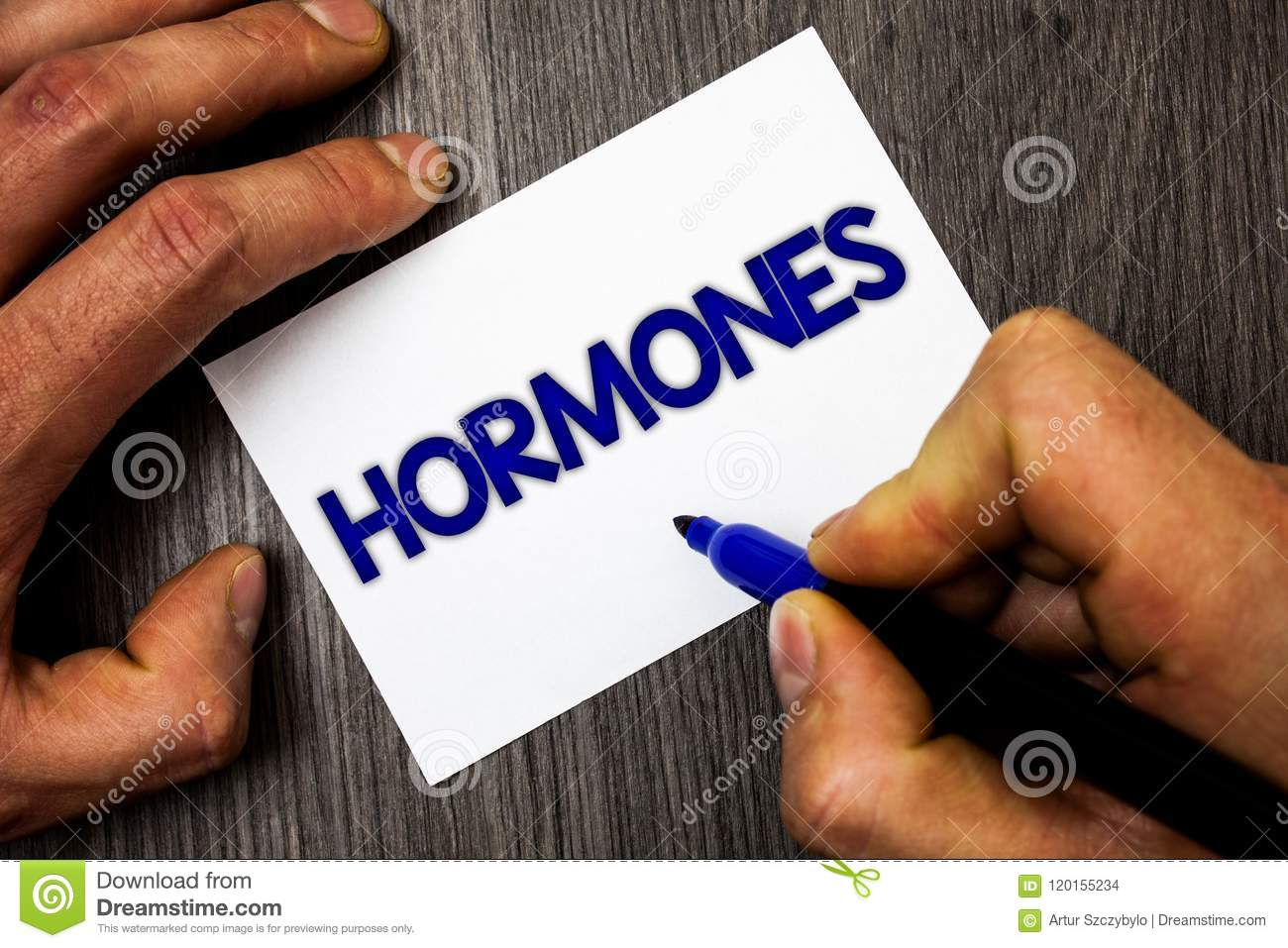 Conceptual hand writing showing Hormones. Business photo showcasing Regulatory substance produced in an organism to stimulate cell