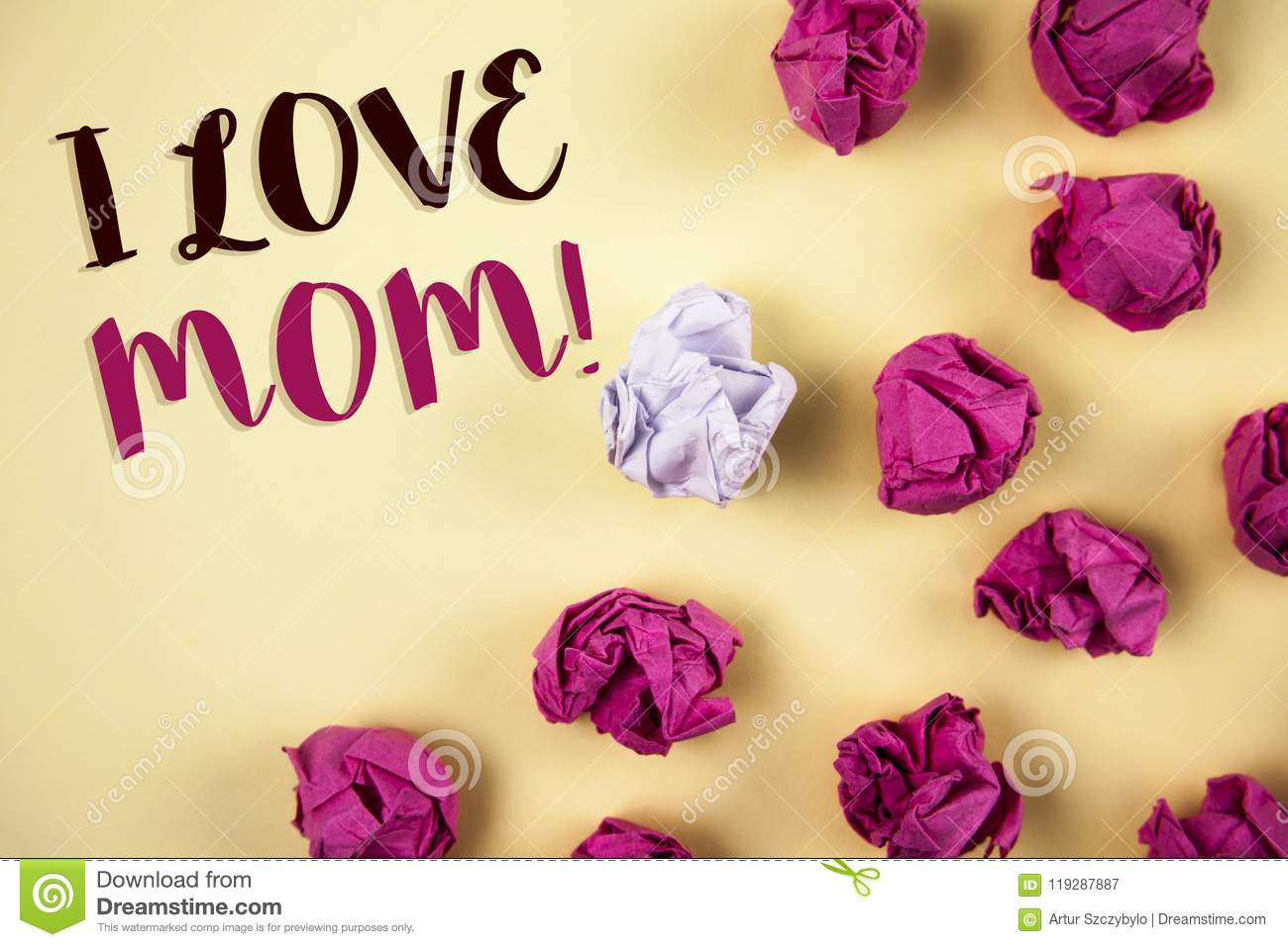 Conceptual hand writing showing I Love Mom Motivational Call. Business photos showcasing Good feelings for their own mother Tender