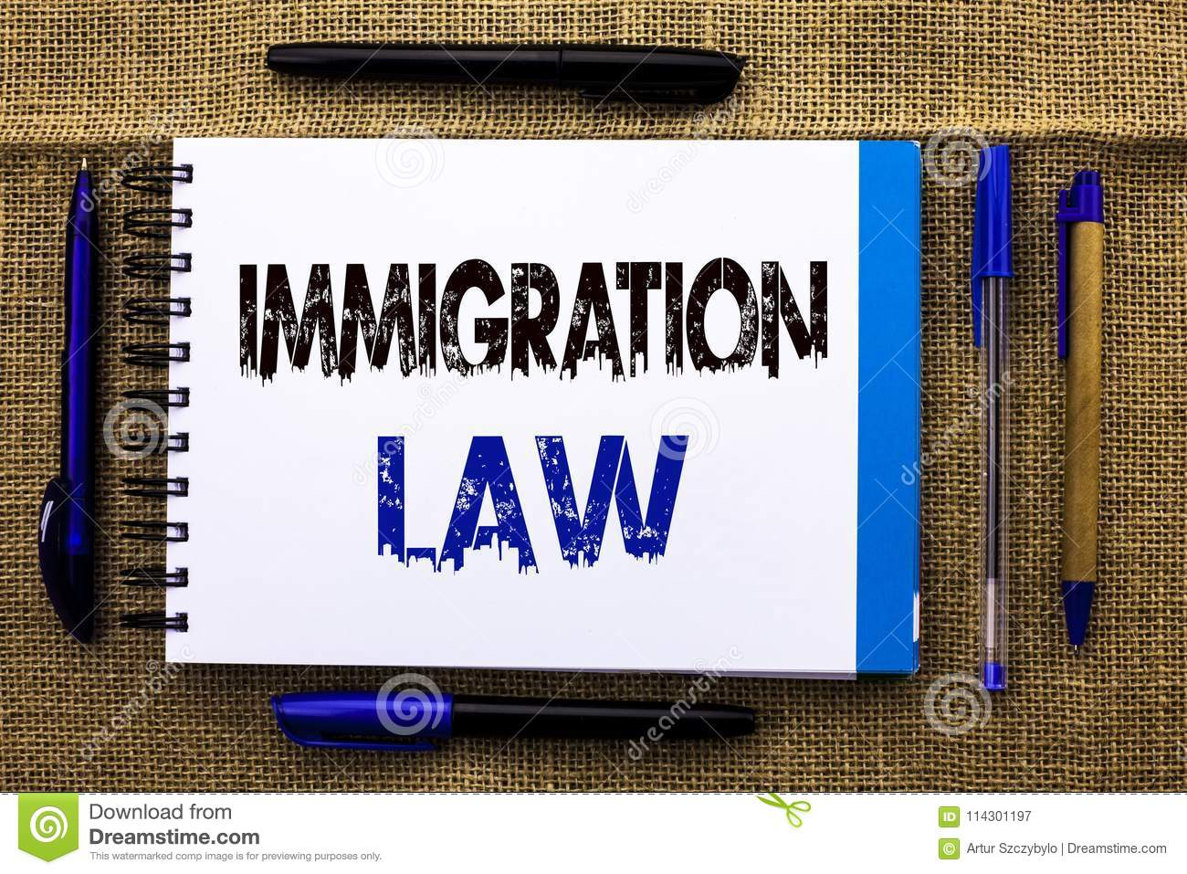 Conceptual hand writing showing Immigration Law. Business photo text National Regulations for immigrants Deportation rules written