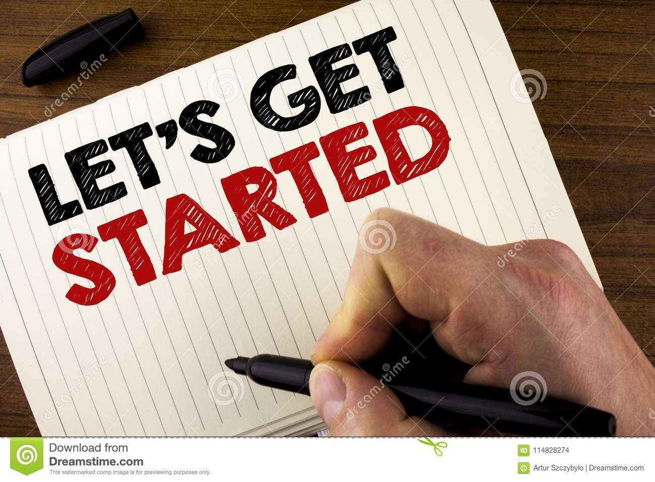 Conceptual Hand Writing Showing Lets Get Started Business Photo