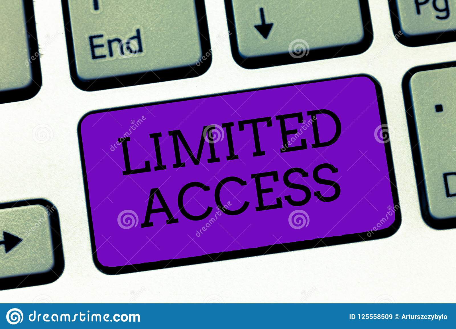 Conceptual hand writing showing Limited Access. Business photo text Having access restricted to a quite small number of points