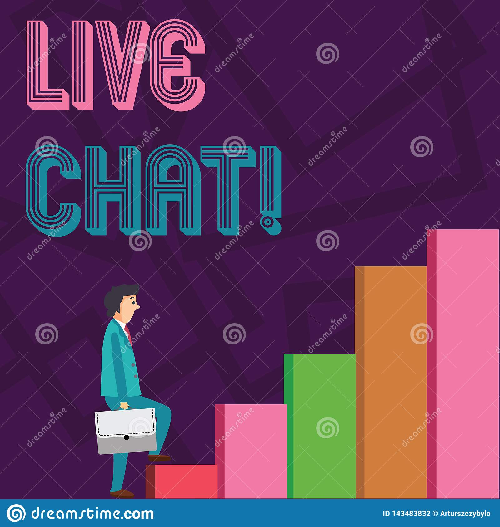 Conceptual hand writing showing Live Chat. Business photo showcasing Web service that allows businesses or friends to