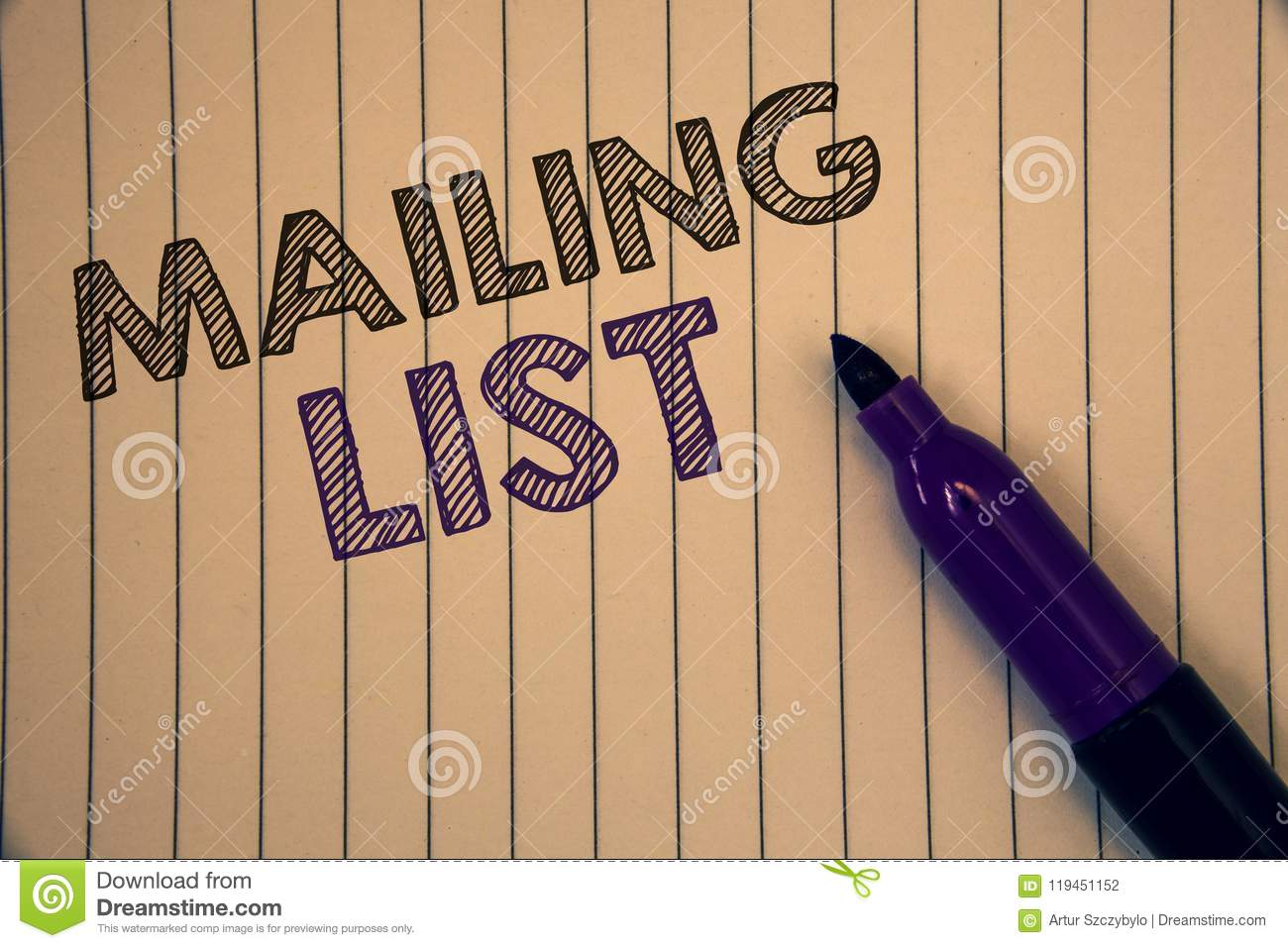 conceptual hand writing showing mailing list business photos