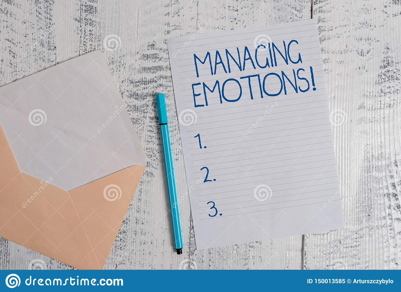 Conceptual hand writing showing Managing Emotions. Business photo showcasing ability be open to feelings and modulate