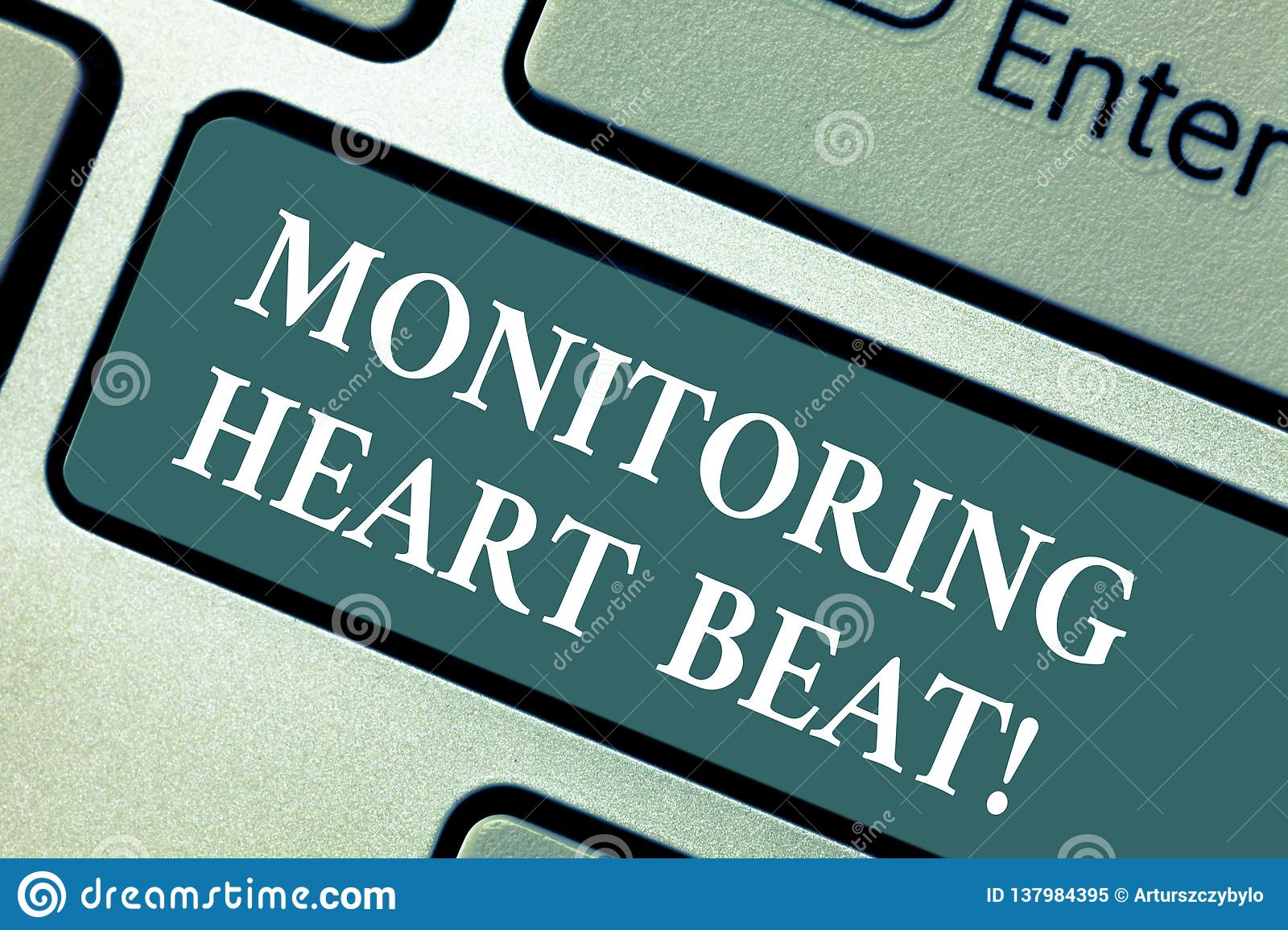 Conceptual hand writing showing Monitoring Heart Beat. Business photo showcasing Measure or record the heart rate in