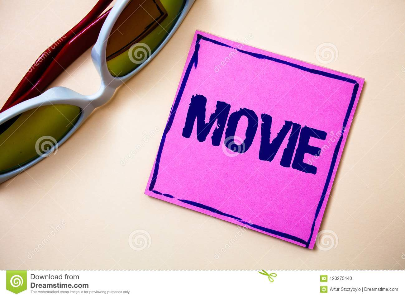 Conceptual hand writing showing Movie. Business photo text Cinema or television film Motion picture Video displayed on screen Stic