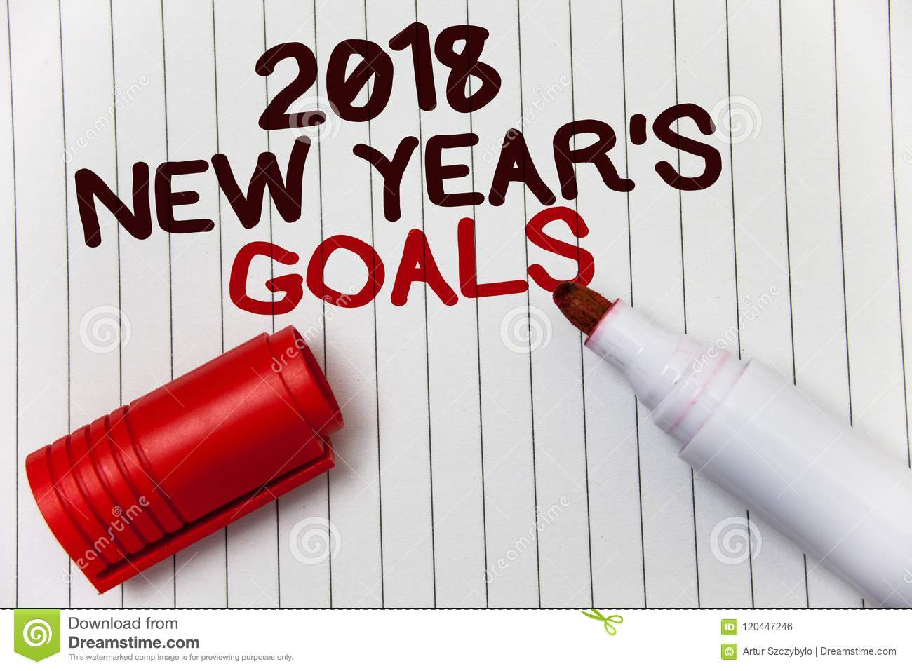 Conceptual Hand Writing Showing 2018 New Years Goals. Business Photo ...