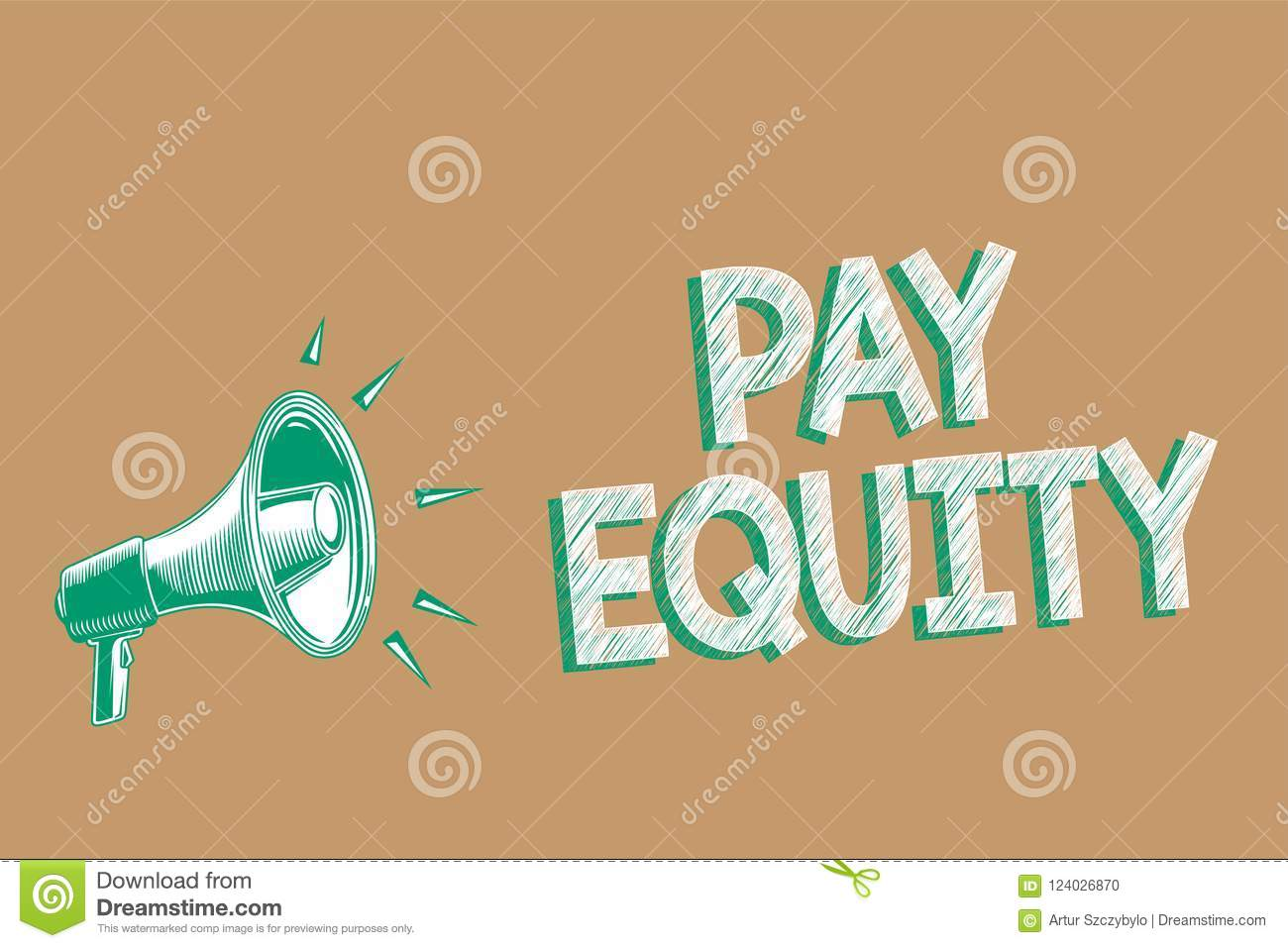 Conceptual hand writing showing Pay Equity. Business photo showcasing eliminating sex and race discrimination in wage systems Mega