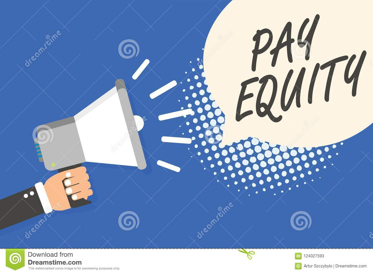 Conceptual hand writing showing Pay Equity. Business photo text eliminating sex and race discrimination in wage systems Man holdin
