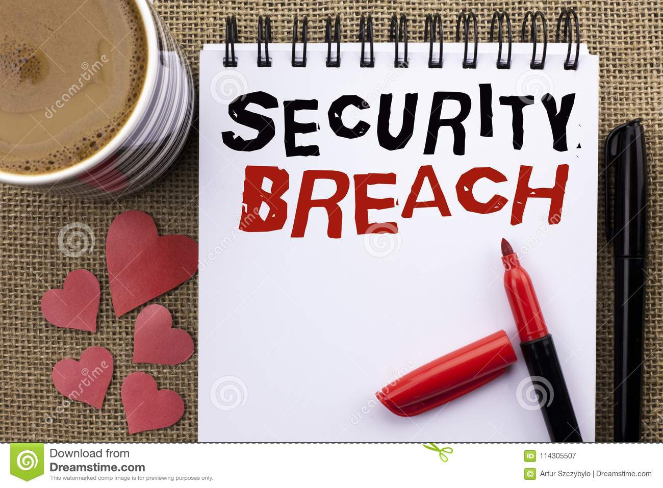 Conceptual hand writing showing Security Breach. Business photo showcasing Unauthorized access to Data Network Applications Device