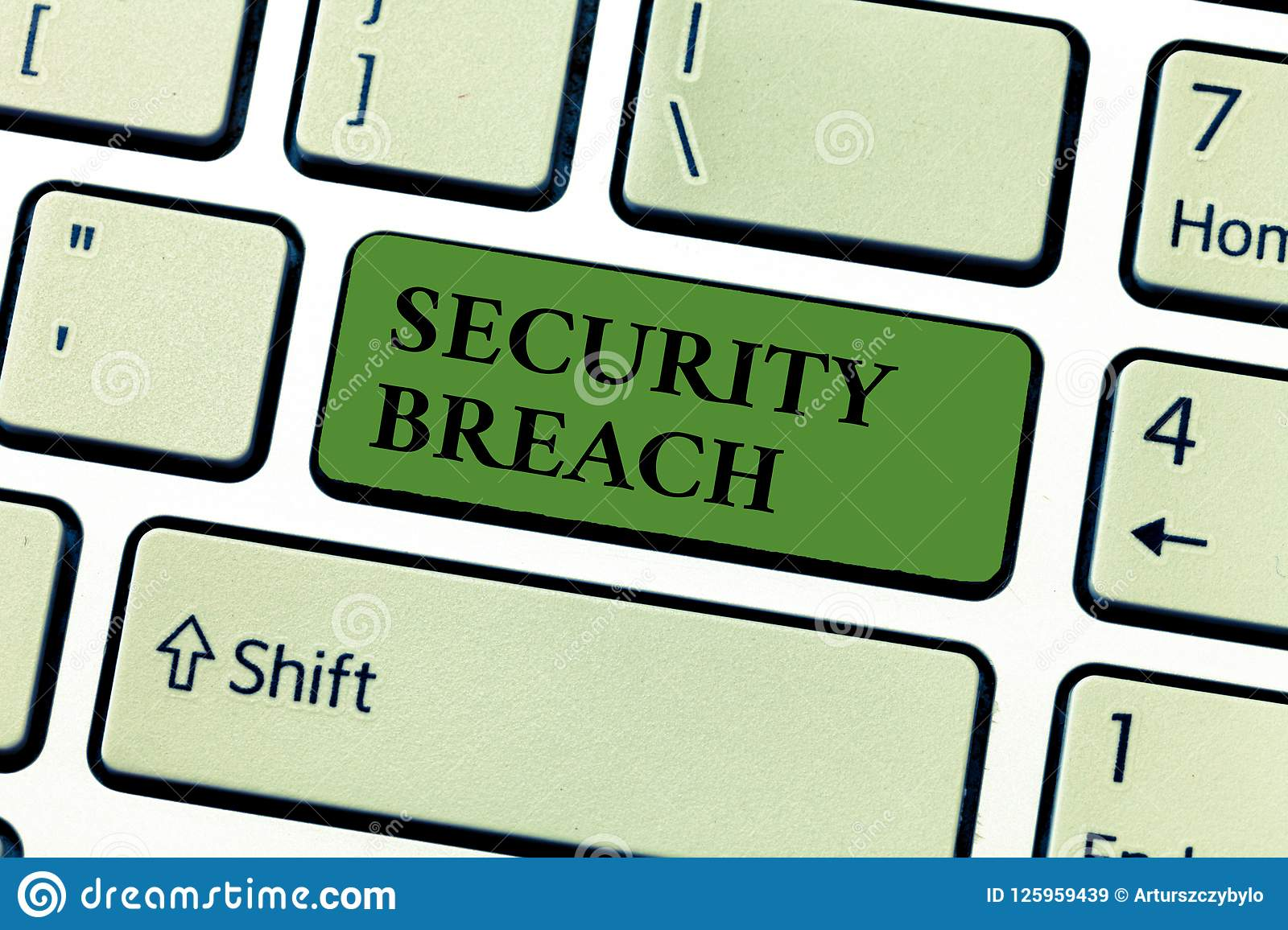 Conceptual hand writing showing Security Breach. Business photo text incident that results in unauthorized access of data