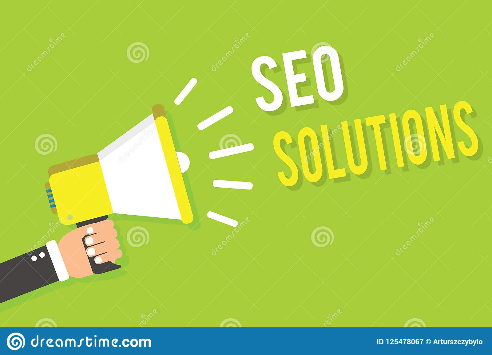 Conceptual hand writing showing Seo Solutions. Business photo text Search Engine Result Page Increase Visitors by Rankings Man hol
