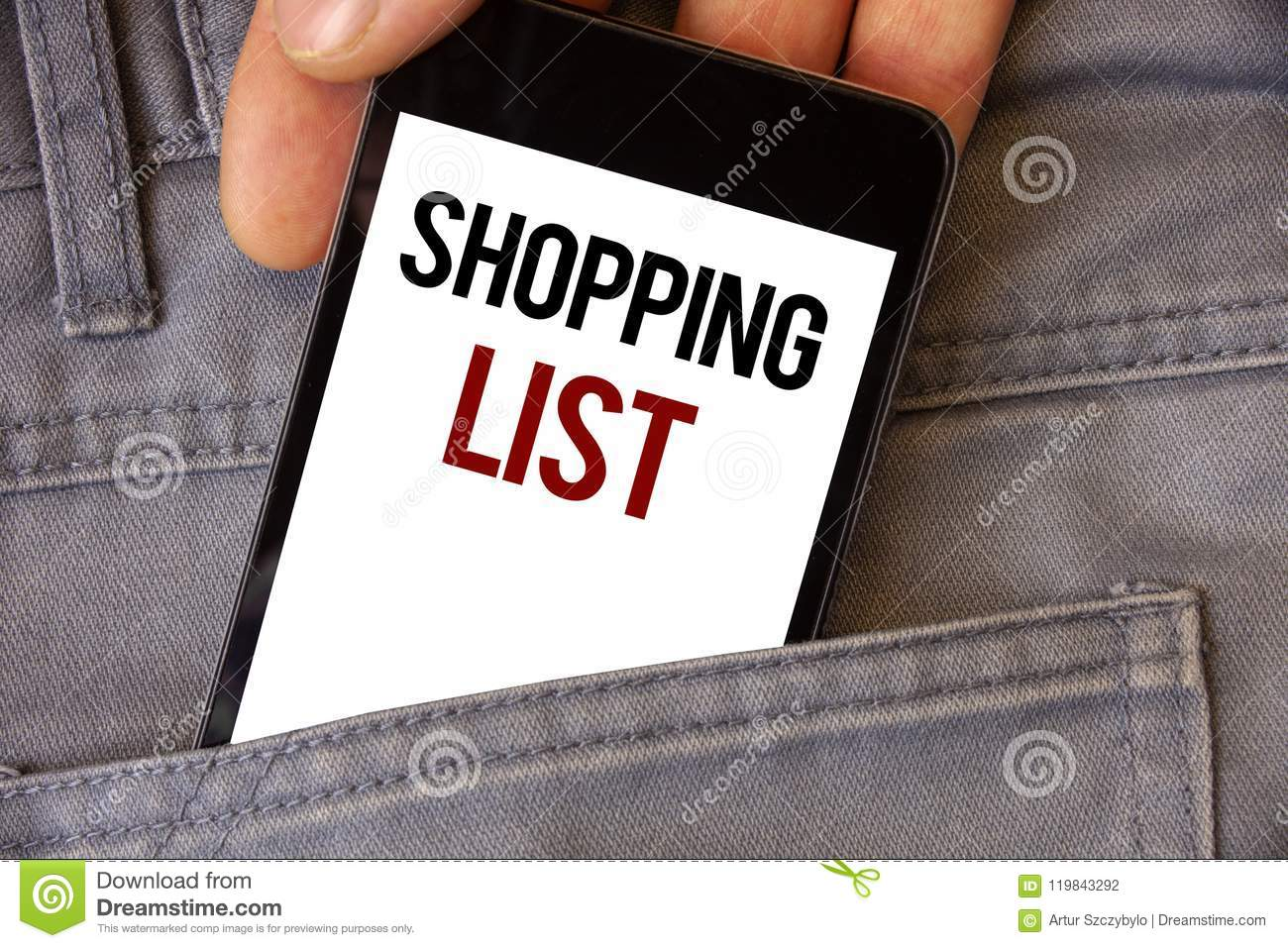 conceptual hand writing showing shopping list business photos text