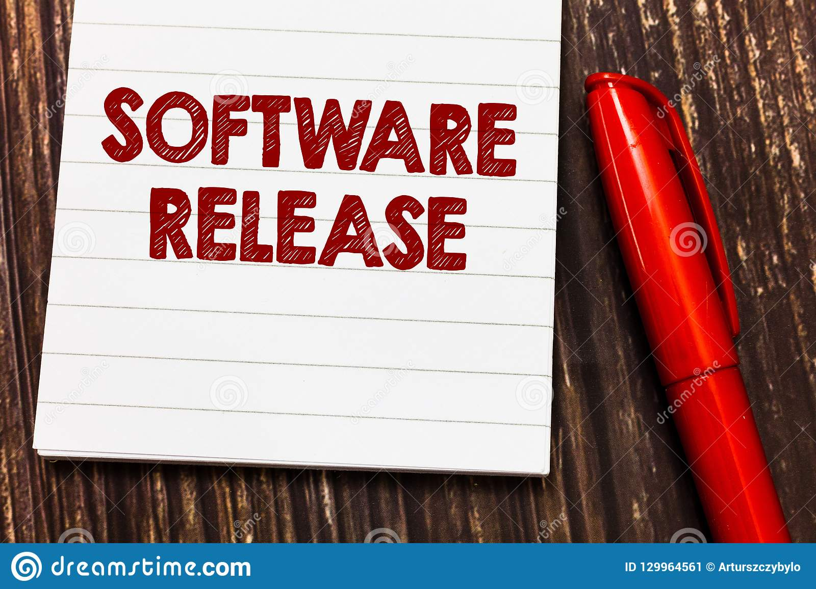 Conceptual hand writing showing Software Release. Business photo showcasing sum of stages of development and maturity