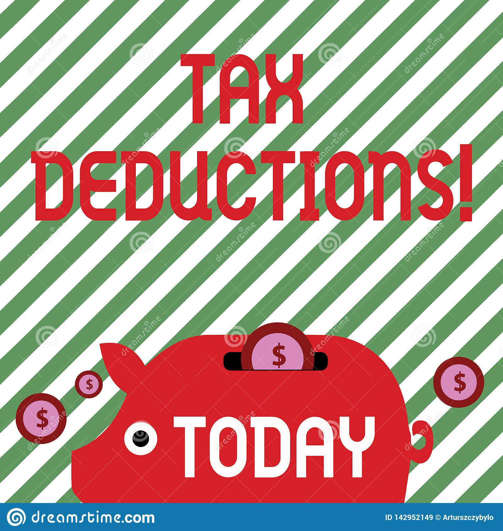 Conceptual Hand Writing Showing Tax Deductions. Business Photo Text Reduction Income