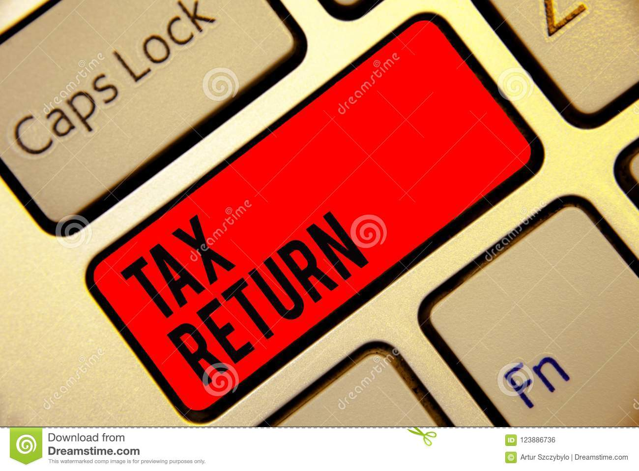 Conceptual hand writing showing Tax Return. Business photo text which taxpayer makes annual statement of income circumstances Keyb