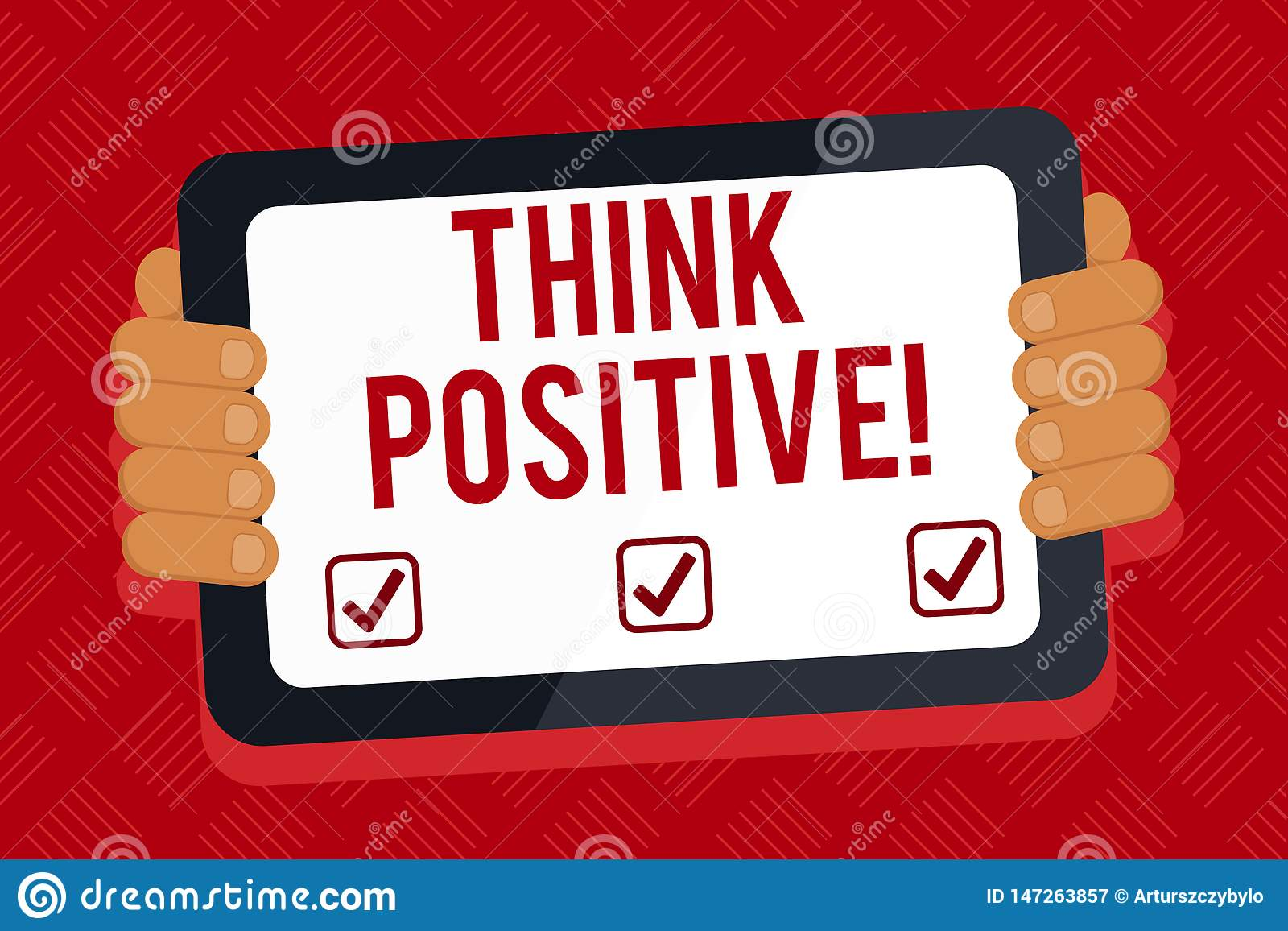 Conceptual hand writing showing Think Positive. Business photo text to believe that you are going to be succeed in your