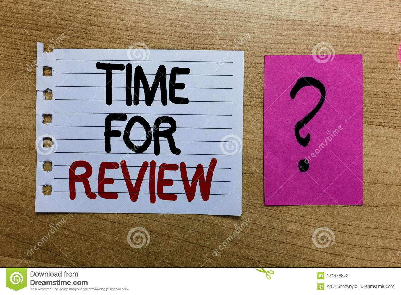 Conceptual hand writing showing Time For Review. Business photo text Evaluation Feedback Moment Performance Rate Assess white page