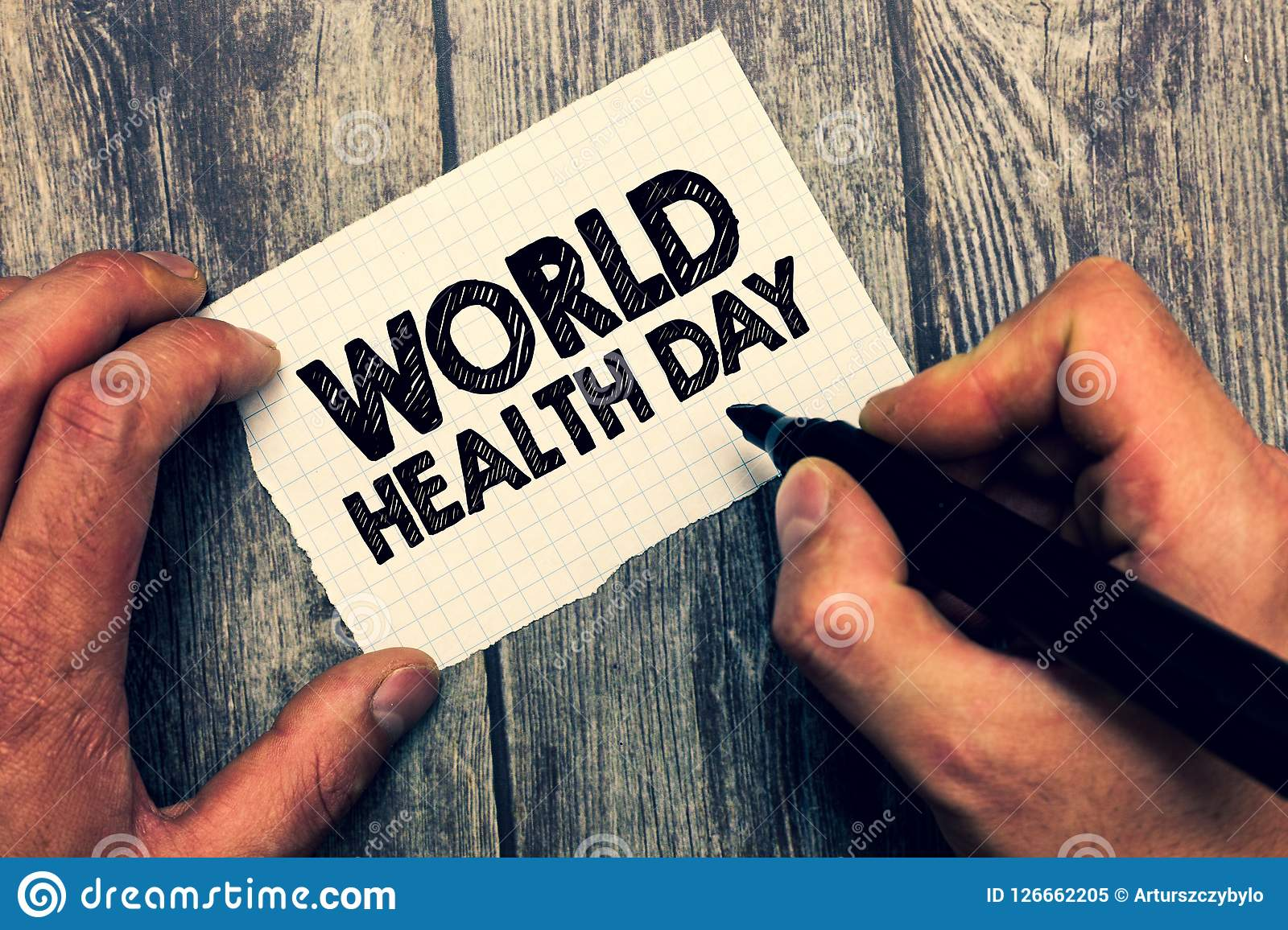 Conceptual hand writing showing World Health Day. Business photo showcasing Global health awareness day celebrated every year.  Royalty Free Stock Photo