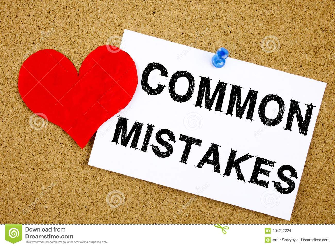 Conceptual hand writing text caption inspiration showing Common Mistakes concept for Common Decision Mistakes and Love written on