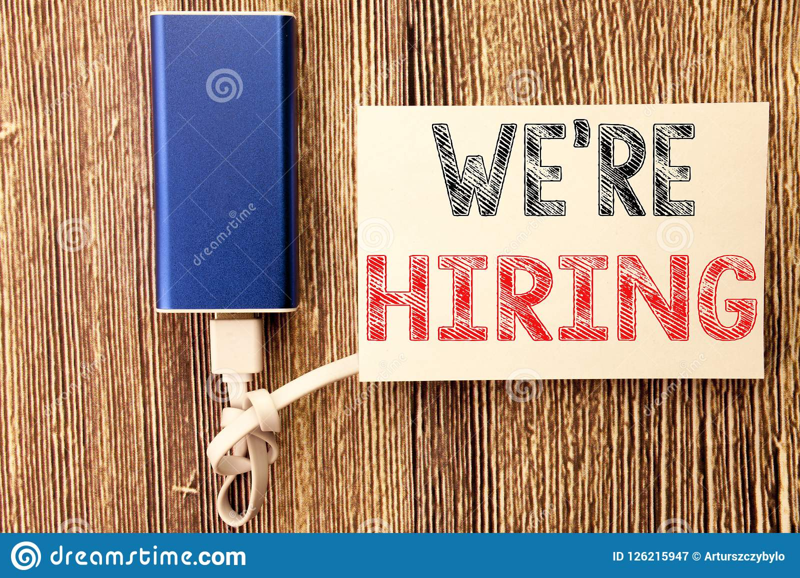 Conceptual hand writing text caption inspiration showing We Are Hiring Now. Business concept for Recruitment Human Resources writ