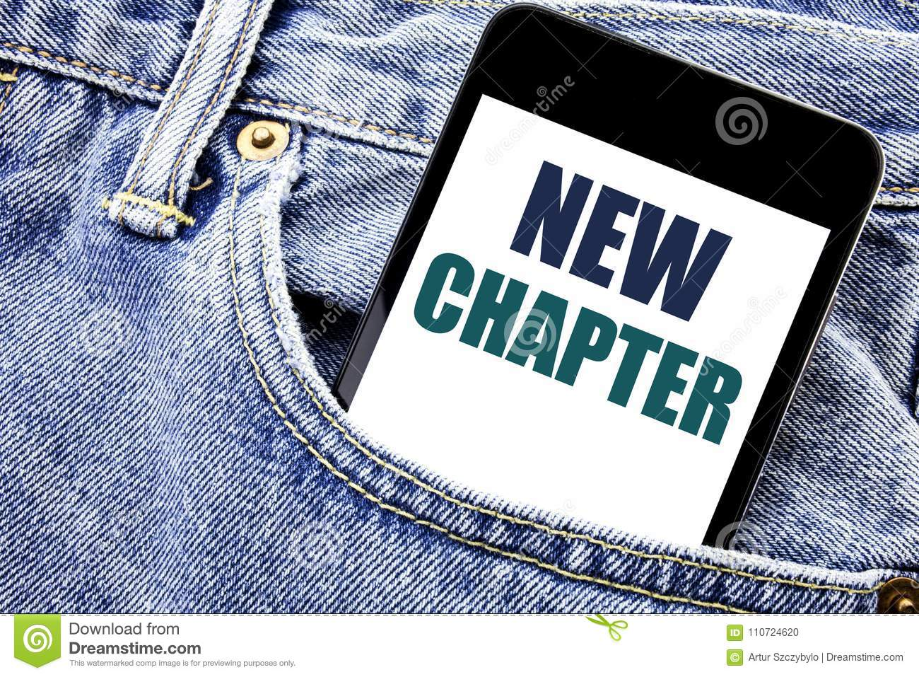 Conceptual hand writing text caption inspiration showing New Chapter. Business concept for Starting New Future Life Written phone