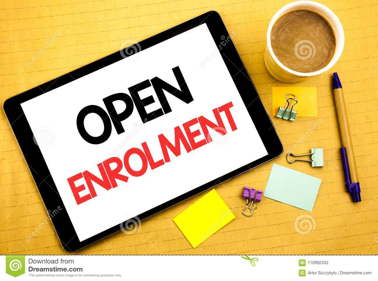 Conceptual hand writing text caption showing Open Enrolment. Business concept for Medicine Doctor Enroll Written on tablet laptop,