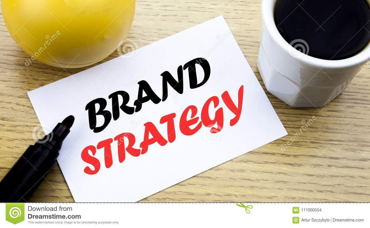 Conceptual hand writing text showing Brand Strategy. Business concept for Marketing Idea Plan written sticky note empty paper, Woo