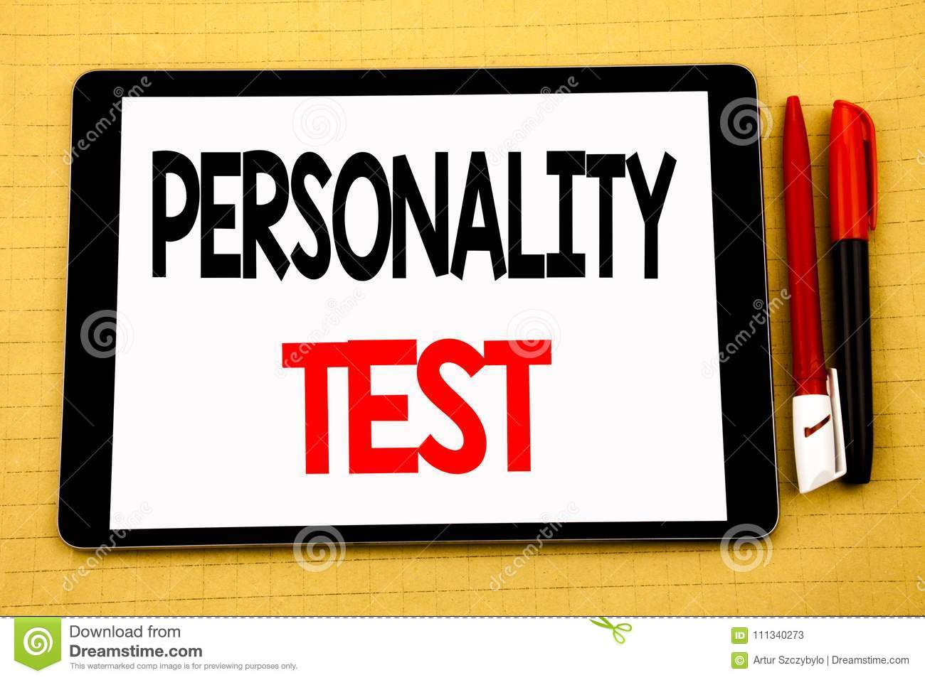 Conceptual handwriting text caption inspiration showing Personality Test. Business concept for Attitude Assessment Written on tabl