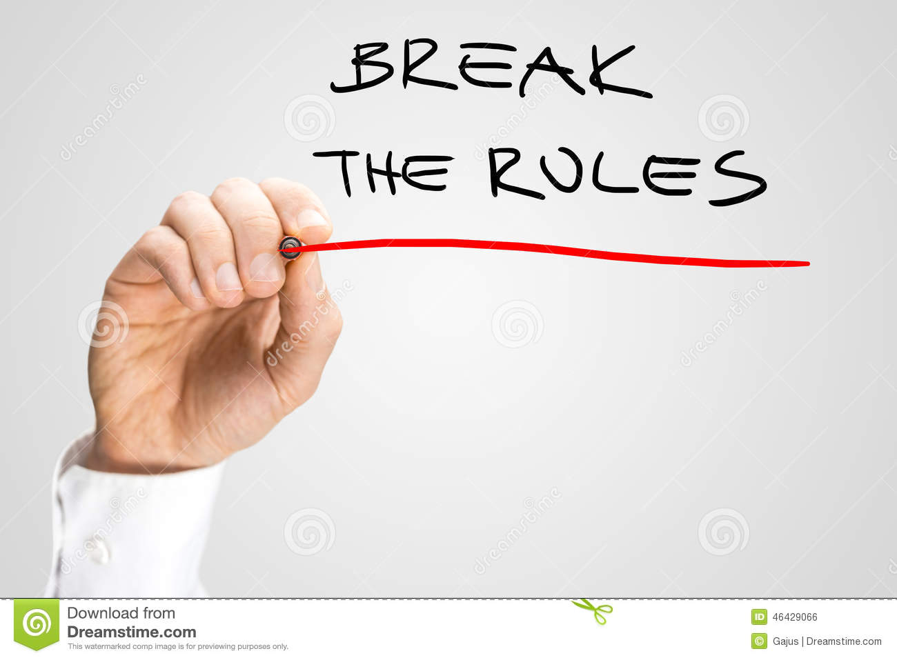 conceptual handwritten red underline on break the rules stock photo